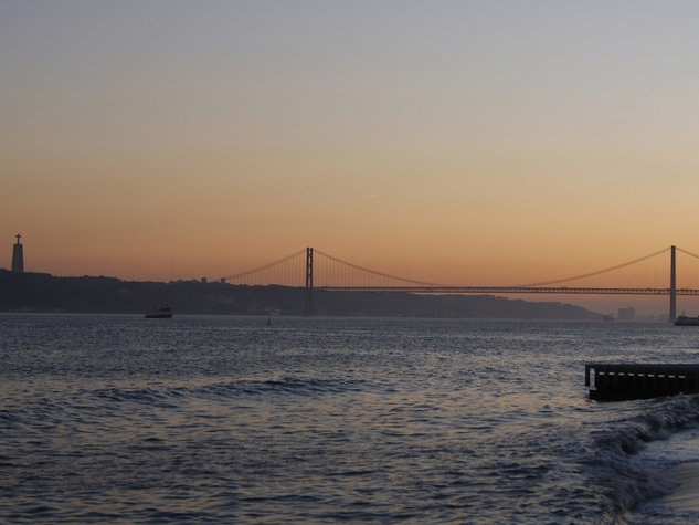 Bill Van Rysdam  Lisbon March 2105 The 25 de Abril Bridge with the Christo Reo statue at sunset