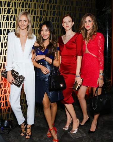 Jessica Stein, from left, Aimee Song, Karen Elson and Chiara Ferragni celebrate Tiffany's new Atlas jewelry at the New York flagship September 2013