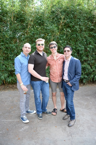 Carlos Meltzer, from left, Teddy Butcher, Brandon Weinbrenner and Nick Espinosa at Houston's Young Professionals Flock to a Beastly Brunch at the zoo February 2015