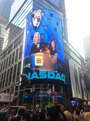 Kristi Schiller and canine Johnny Cash at NASDAQ Times Square