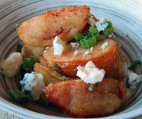 Bradley's Fine Diner HRW Southern fried tomatoes July 2014 with house made buttermilk ranch