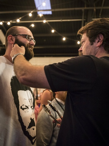 Nick Offerman judging beards at Meat Fight 2013