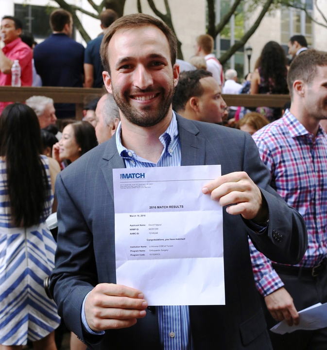 David Falgout with his Match Day letter at UT Medical School
