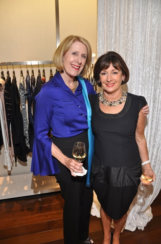 Martha Adger, left, and Cathy Fitzpatrick at the Pamella Roland runway show at Elizabeth Anthony November 2014