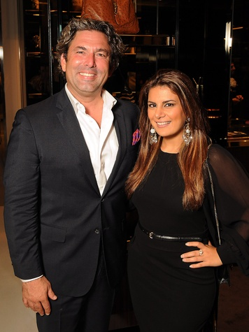Jared Lang and Behnaz Ghahramani at the Gucci Alley Theatre cocktail party October 2013