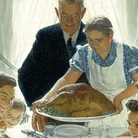 Norman Rockwell Thanksgiving table with turkey and family