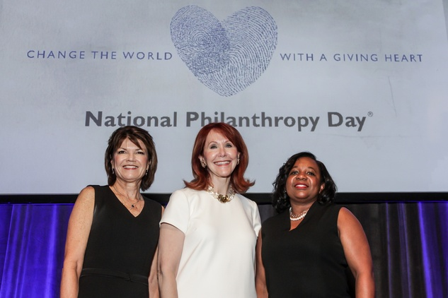 News, National Philanthropy Day Awards, Dec. 2015, Susan Coulter, Judy Howell, Carme Williams