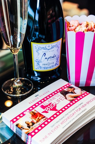 Prosecco and popcorn at Elaine's Big Life premier party at Elaine Turner November 2014