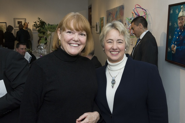 Kimberly Davenport, left, and Mayor Annise Parker at Art on the Avenue November 2013