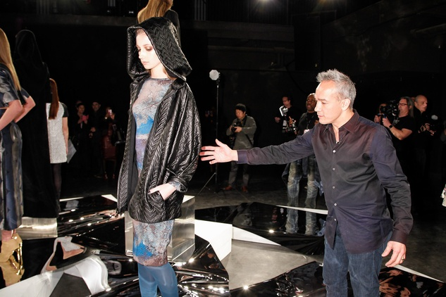 Cesar Galindo with model at Czar show February 2014