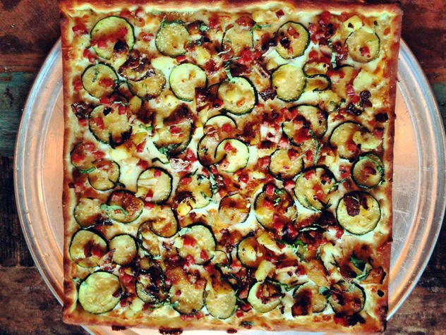 Zucchini, potato and pancetta pizza at Zoli's NY Pizza Tavern
