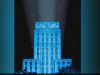 Houston City Hall will be bathed in blue for the Blue Cure Night Run