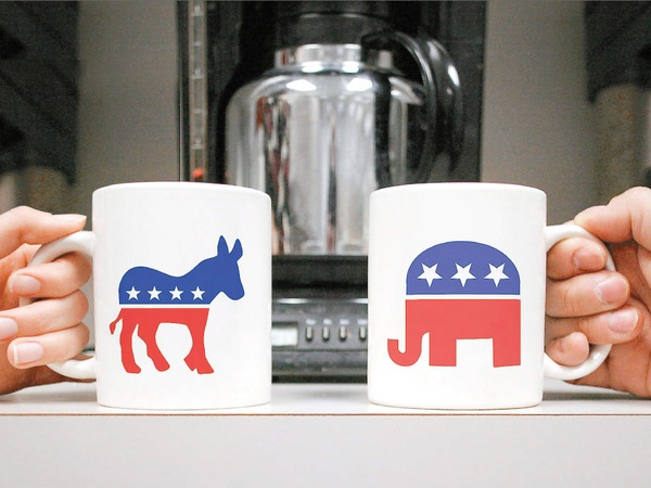 politics in the workplace, coffee mugs, donkey, elephant, Republican, Democrat