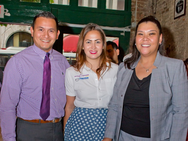 37 Derek Mendoza, from left, Michele Bumgarner and Juvie Cruz, President of Filipino Young Professionals of Houston (FYP Houston) at the Young Professionals Grand Prix kick-off party June 2014