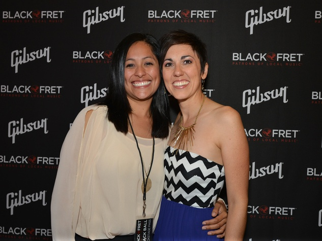 Gibson Black Ball Red Carpet Black Fret grant recipient Gina Chavez and her partner Jodi Granado