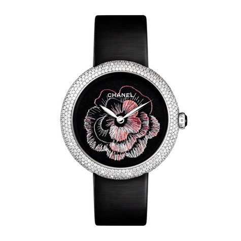 Chanel Mademoiselle Prive watch with camelia