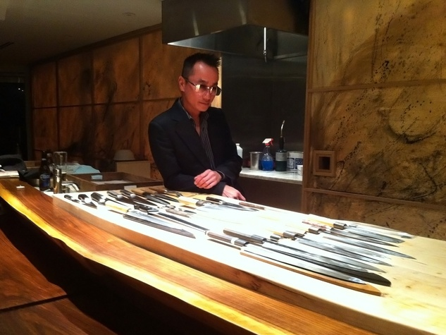 Chris of MF Sushi with knives