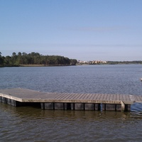 Lake Woodlands in The Woodlands dock looking at Mitchell Island from Northshore Park