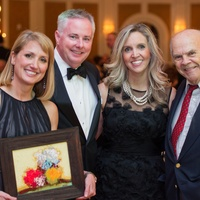 Susan and Chris Dray, from left, Stephanie Ann Jones and David Adickes at the Preservation Houston Cornerstone Dinner February 2014