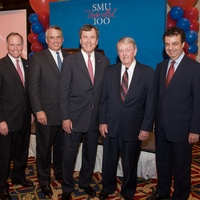 "SMU, November 2012, Brad Cheves, Scott McLean,  R. Gerald Turner, Yandell ""Tog"" Rogers Jr., John Attanasio"