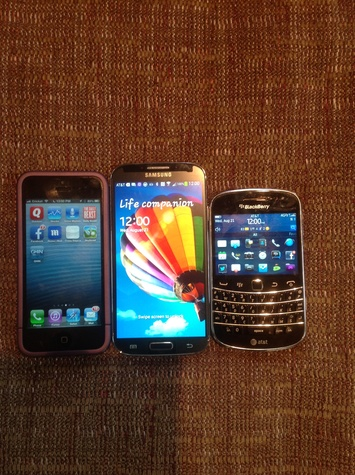 iPhone, Samsung and Blackberry cell phones