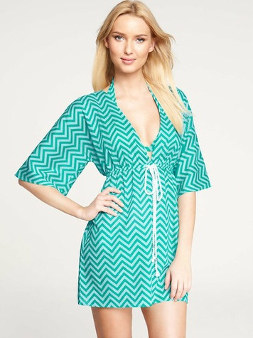 Ann Taylor Classic Zig Zag Tie Front Swimsuit Cover Up