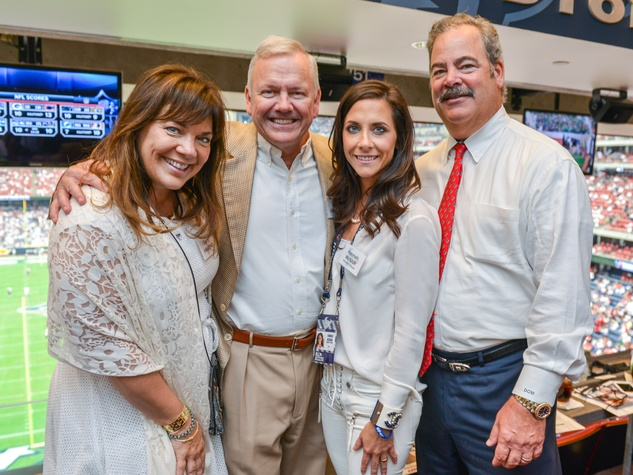 News, Shelby, Texans Owners suite, Sept. 2015, Terri and John Havens, Hannah McNair, Cal McNair