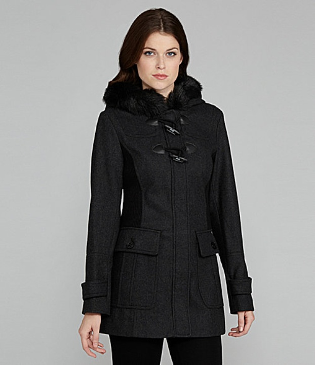 Guess Faux-Fur Trimmed Toggle Coat