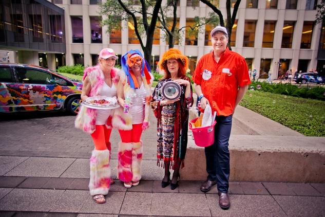 260 Susan Schulz, from left, Elizabeth Neison, Susan Biederberg and Carl Gudarian at the Art Car Ball April 2015