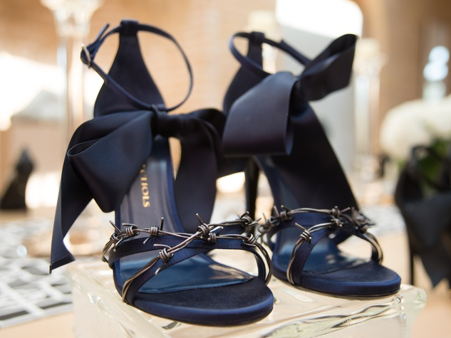 3 Navy shoes with bows and barbed wire at Joyce Echols Shoes Preview March 2015