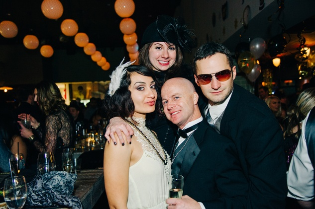 Francisca Torres, from left, Marisa Whitenton, James Wilson and Kyle Megera at New Year's Eve at Local Pour January 2015