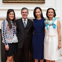 17582 Emily Hodges, from left, Dr. Zachary Hodges, Barbara Pierce Bush and Anna Hodges at the Blue Bird Circle Luncheon May 2014