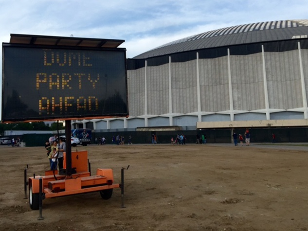 Astrodome public tour 50th anniversary party April 2015 sign party ahead THIS