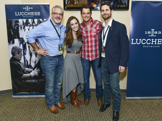 Damon Moberly, Sofia Ruzo, Easton Corbin, Andres Ruzo at Houston rodeo Lucchese party March 2014