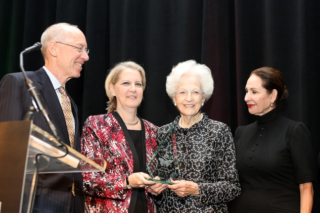 14 David Mincberg, from left, Pearl Mincberg Monk, Edith Mincberg and Araceli Flores at the Guardian of the Human Spirit luncheon November 2014