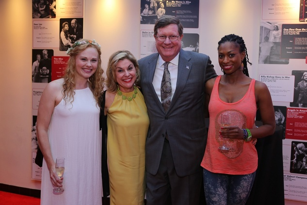5614 Sarah Nealis, from left, Sharyn and Jim Weaver and Rachael Holmes at the Alley Opening Night dinner May 2014