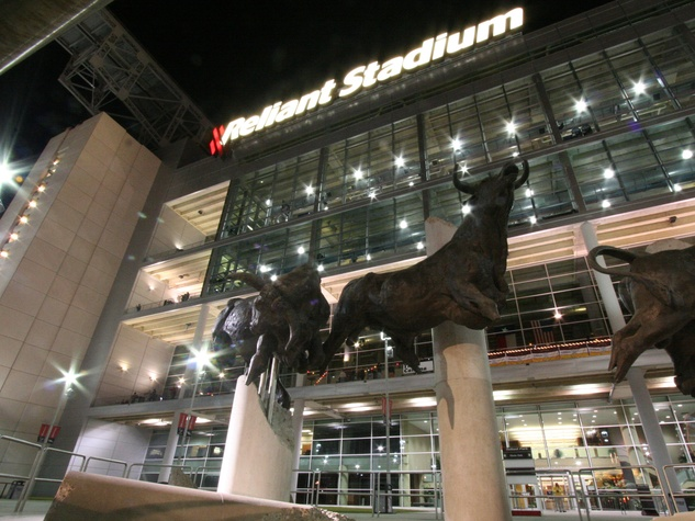 Reliant Stadium at night with bull sculptures