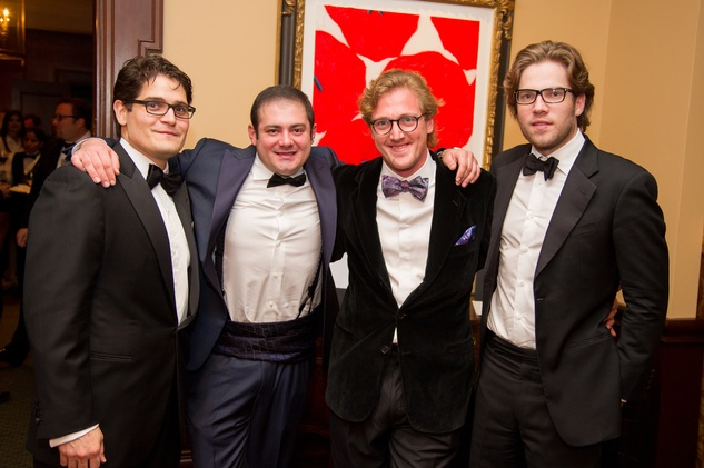 9 Guido Stefanelli, from left, Phillip Sarofim, Marcus Bagnoletti and Ralph Abendshein at the Alley Theatre's Wild Things dinner November 2013