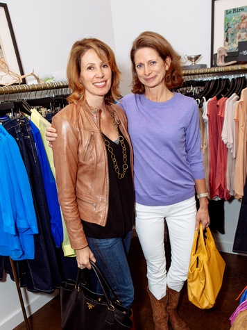 6 Frederique Goodrich, left, and Hilary Crady at the Julie Rhodes Fashion & Home Nonoo trunk show for Houston Children Give Back January 2014