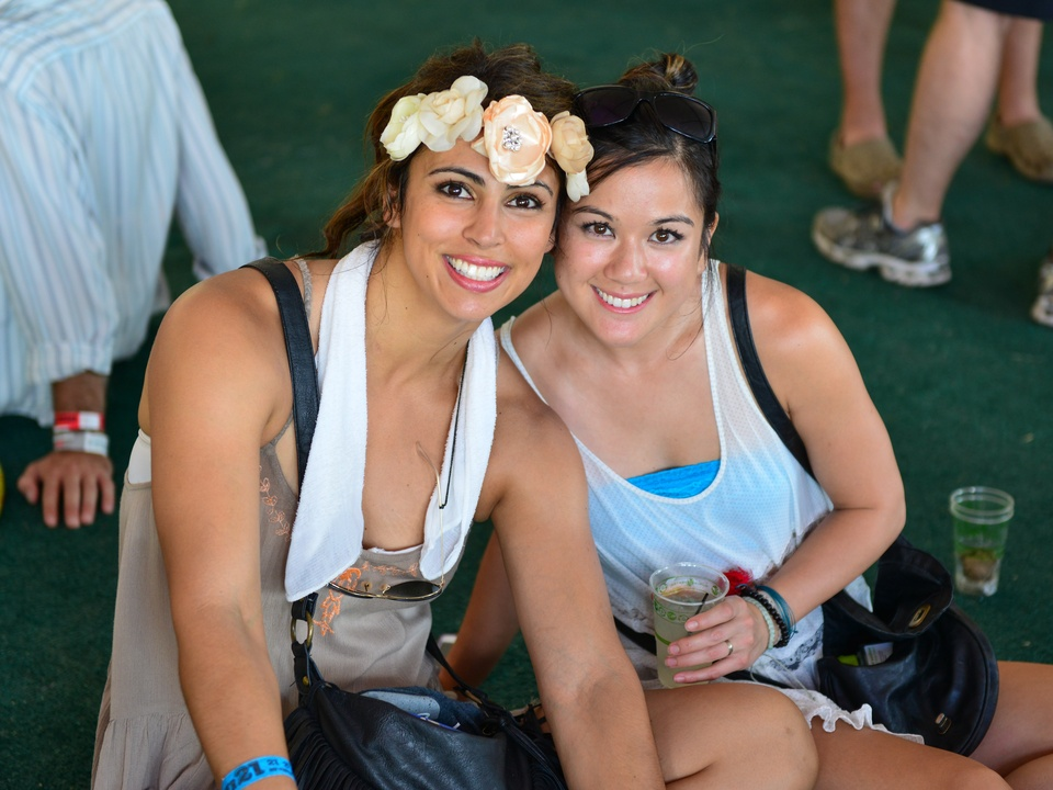 13 Free Press Summer Fest fashion June 2014 Jovi Marquez, left, and Jessica Wheeler - I asked Jovi about her headpiece as they were everywhere. She said she saw people wearing them at Coachella and liked it