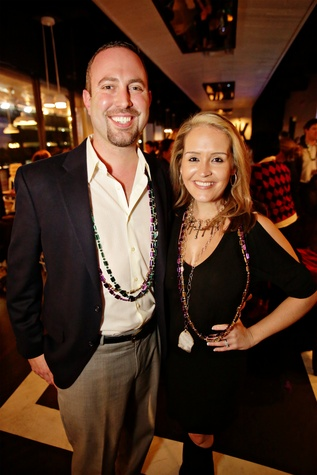 14 Ashton and Nicole Stresau at Gray's Public House Mardi Gras grand opening benefiting Urban Green February 2015