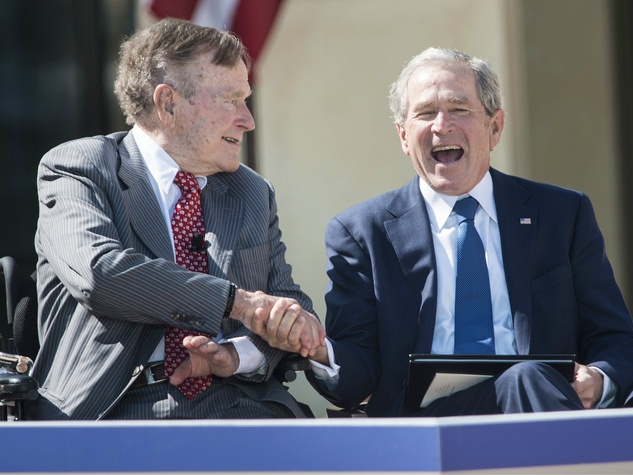 George H.W. Bush and George W. Bush at George W. Bush Presidential Center in Dallas