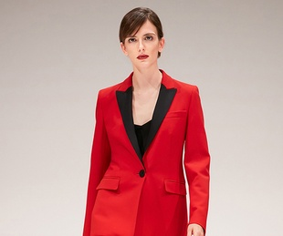 Escada fall 2017 red tuxedo with black lapels
