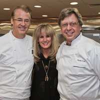 Robert Del Grande, from left, Laura Heatherly and Mark Cox at the Best Cellars dinner.