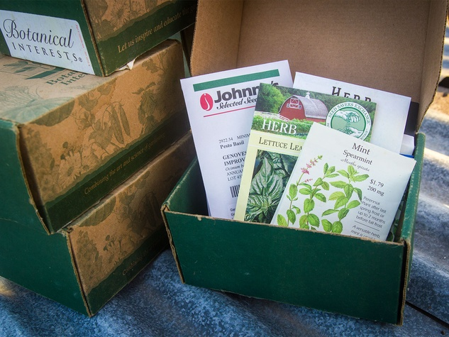 Photos of boxes of seed packets