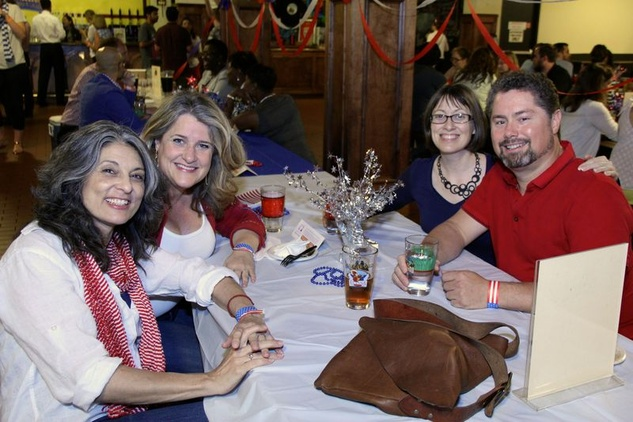 26 Tina Berger, from left, Kim Cambron, Shelly Immel andTom Stell at the Houston Area Women's Center Young Leaders Independence Day Bash July 2014