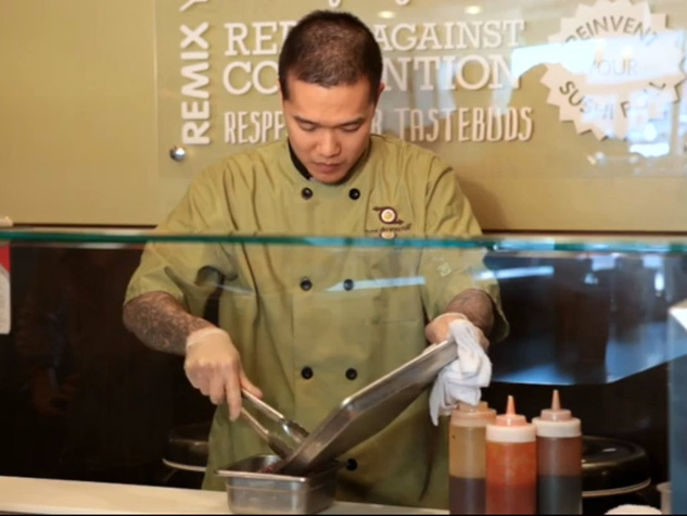 Chef Peter Yung of How Do You Roll creating insect sushi roll