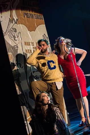Theatre Under the Stars TUTS Reefer Madness  Kristin Warren as Mae, Mark Ivy as Ralph and Brooke Wilson as Sally