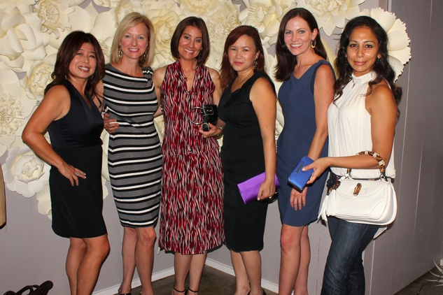 Rose Chen, from left, Reyne Hirsch, Perri Palermo, Tammy Tran-Nguyen, Ronda Suder and Fatema Khan at the Dress for Dinner kickoff in new David Peck Showroom September 2014