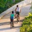 Buffalo Bayou trail with walkers and people on bicycles August 2013